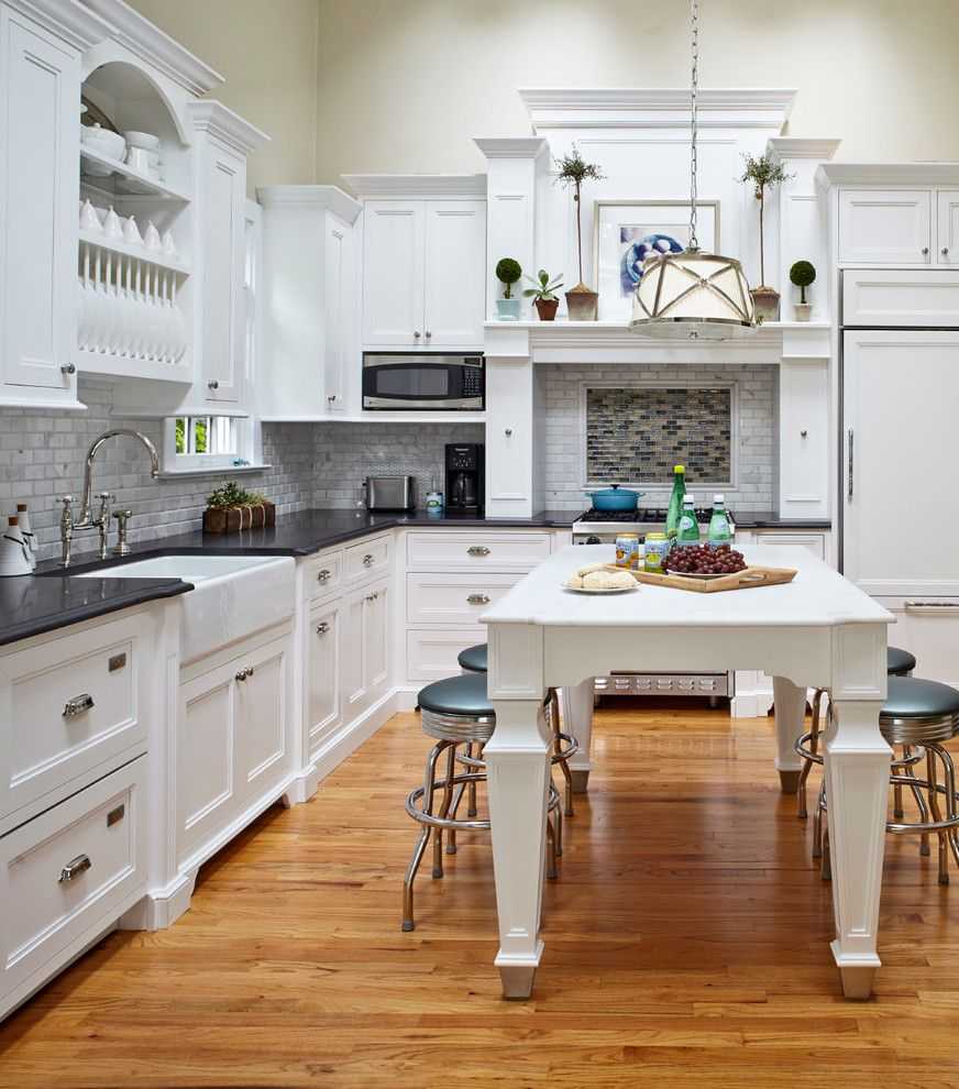 Vaughan Lighting for a Beach Style Kitchen with a Kitchen Table and Classic Cottage by Jules Duffy Designs