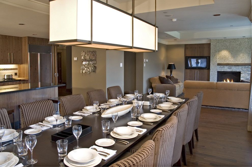 Vaughan Lighting for a Contemporary Dining Room with a Wall Decor and While at Chil Design Group by Claudia Leccacorvi