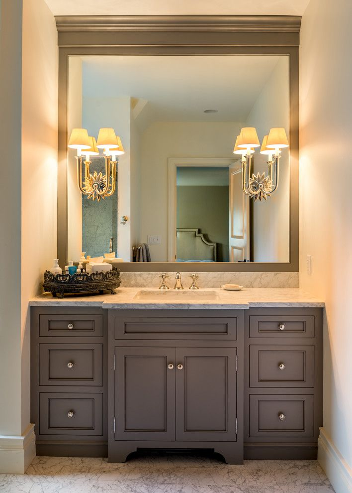 Vaughan Lighting for a  Spaces with a Bathroom Marble Floor and Fox Hollow Residence by Archer & Buchanan Architecture, Ltd.