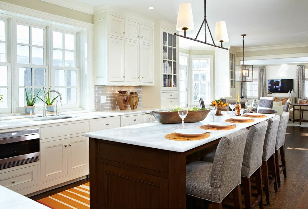 Vaughan Lighting for a Traditional Kitchen with a Gray Bar Stools and Fam by Last Detail Interior Design