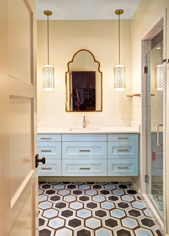 Vaughan Lighting for a Transitional Bathroom with a Painted Concrete Tile and K I D ' S  R O O M S + B a T H S by Evensen Design