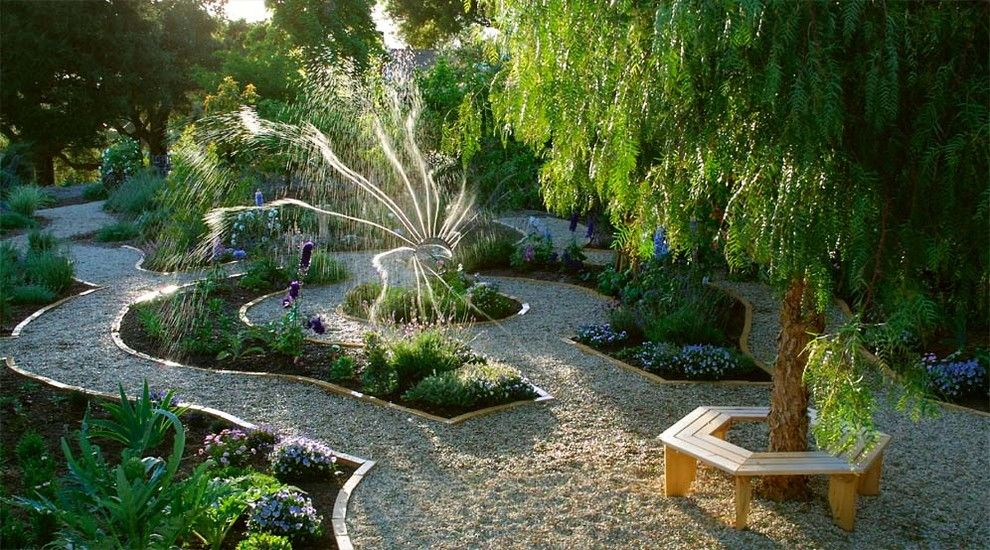Vegetable Garden Layout for a Eclectic Landscape with a Gravel Walkway and Parterre Inspired Veggie Garden by Margie Grace   Grace Design Associates