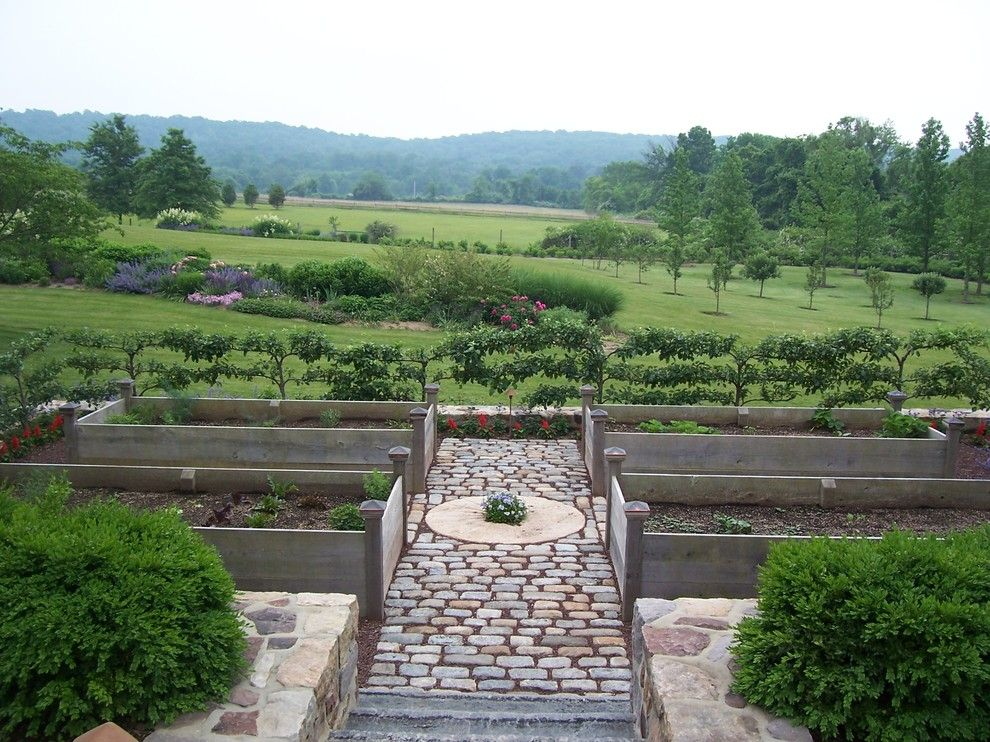 Vegetable Garden Layout for a Traditional Landscape with a Belgian Block and Vegetable Gardens by Dear Garden Associates, Inc.
