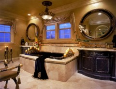 Venetian Plaster for a Mediterranean Bathroom with a Crown Molding and Mediterranean Bathroom by martinkingphotography.com