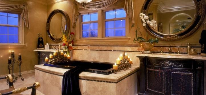 Venetian Plaster for a Mediterranean Bathroom with a Crown Molding and Mediterranean Bathroom by martinkingphotography.com
