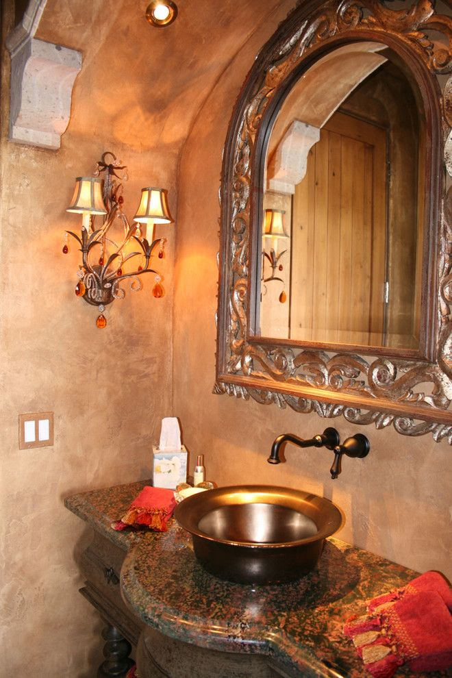 Venetian Plaster for a Mediterranean Bathroom with a Mediterranean and Refined Eclectic Powder Room by Vm Concept Interior Design Studio