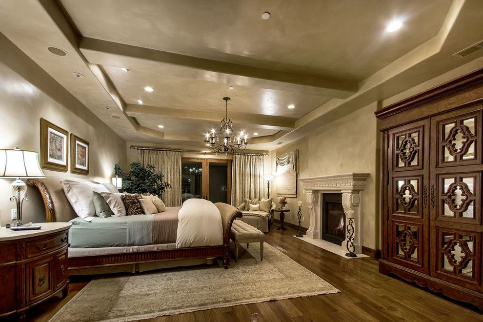 Venetian Plaster for a Mediterranean Bedroom with a Italian and Tuscan Vineyard Estate by Stotler Design Group