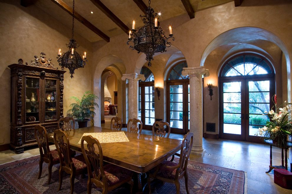 Venetian Plaster for a Mediterranean Dining Room with a Wood Dining Table and Manian Residence by James Glover Residential & Interior Design