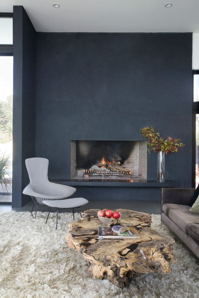 Venetian Plaster for a Modern Living Room with a Fireplace and Tenth Street Residence by Twenty7 Design