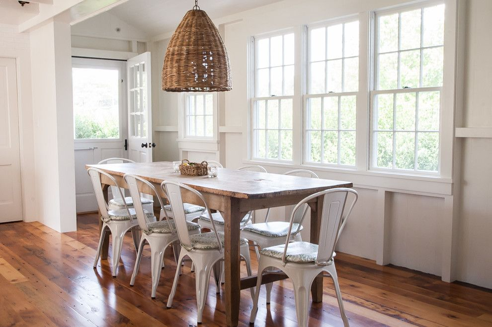 Vermont Farm Table for a Beach Style Dining Room with a Rustic Wood Dining Table and Southern Ct Beach Home by Allee Architecture + Design, Llc