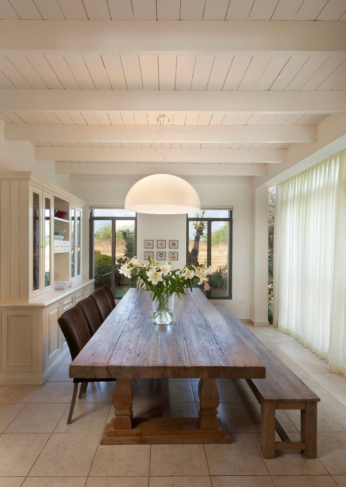 Vermont Farm Table for a Contemporary Dining Room with a Hutch and Dining Room by Elad Gonen