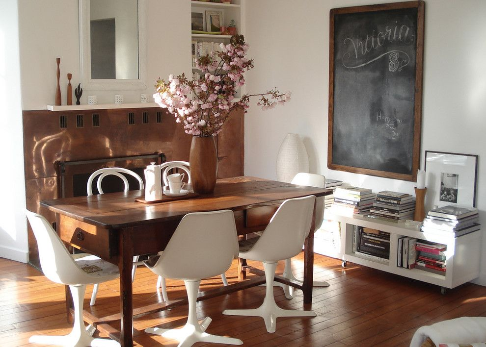 Vermont Farm Table for a Shabby Chic Style Dining Room with a Wood Flooring and Sfgirlbybay by Sfgirlbybay