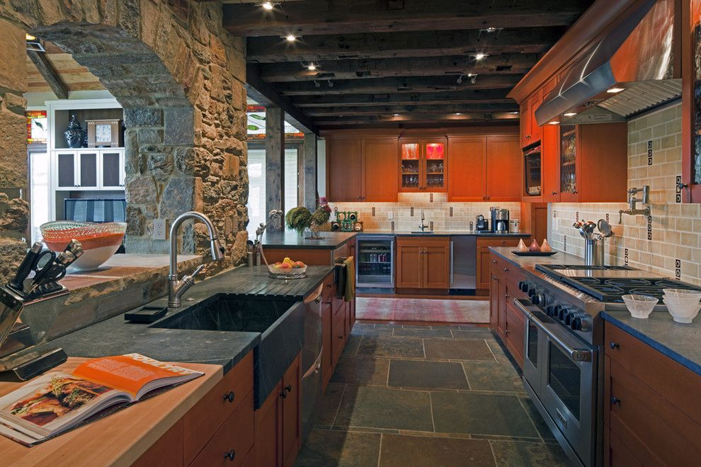 Vermont Soapstone for a Eclectic Kitchen with a Commercial Range and Western Run Kitchen by Hbf Plus Design