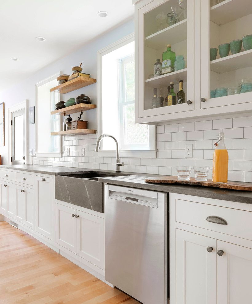 Vermont Soapstone for a Farmhouse Kitchen with a Modern Farmhouse and Stowe Remodel by Peregrine Design Build