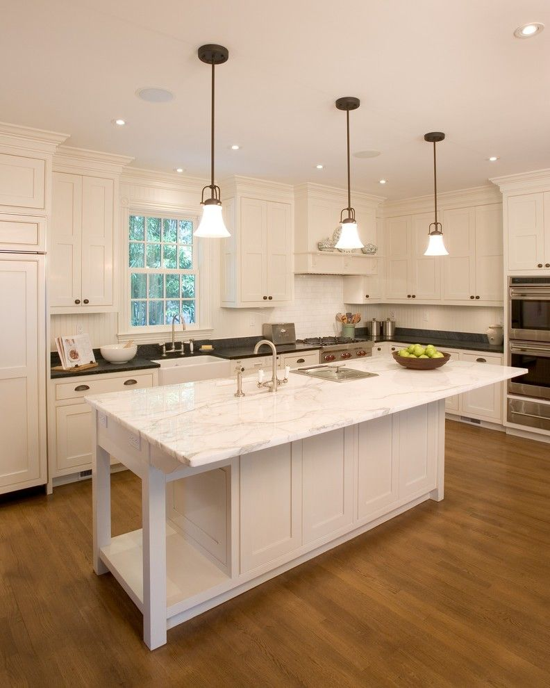 Vermont Soapstone for a Traditional Kitchen with a Glass Pendants and Princeton Restoration by Dennison and Dampier Interior Design