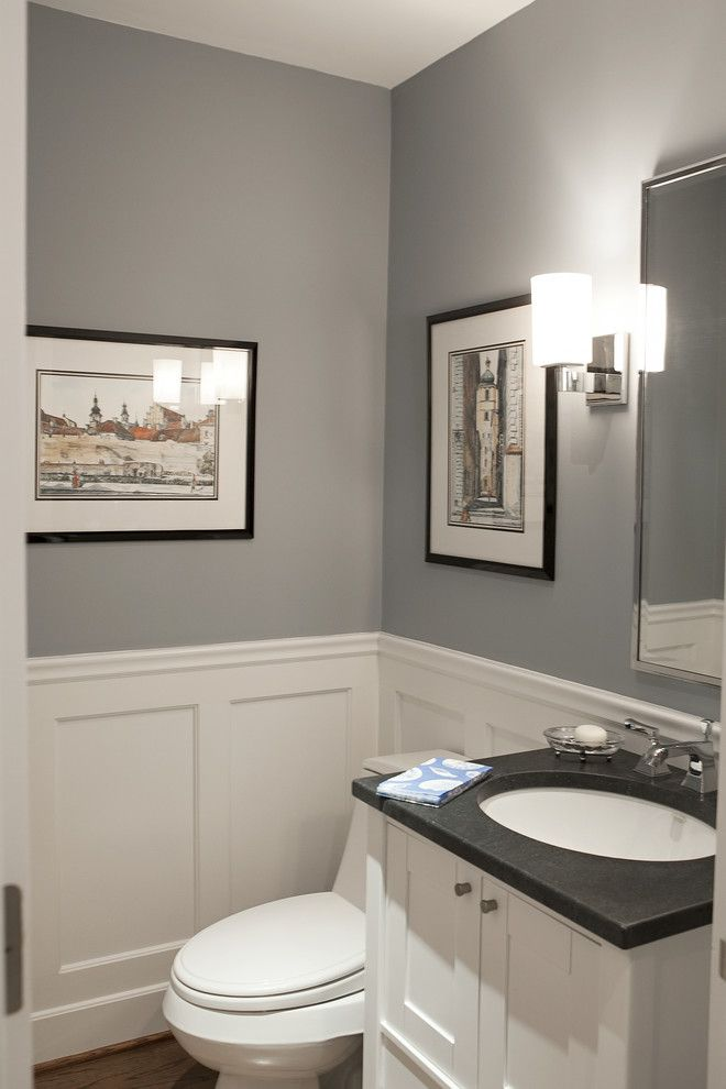 Vermont Soapstone for a Traditional Powder Room with a Soapstone Look Granite Bathroom Gray Pow and New York Area Interior by Debra Kling Colour Consultant