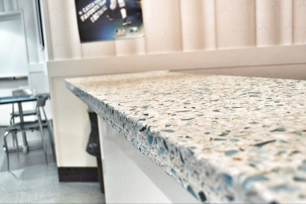 Vetrazzo for a Contemporary Spaces with a Contemporary and Vetrazzo, Floating Blue by Latera Architectural Surfaces / Dorado Stone