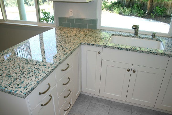 Vetrazzo for a Traditional Kitchen with a Blue and Cool & Refreshing in San Ramon, Ca by Kdc Kitchen & Bath Gallery