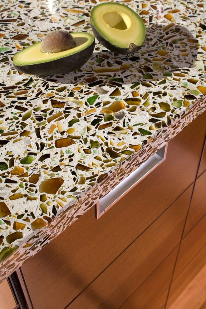 Vetrazzo for a Traditional Kitchen with a Eco Countertops and Vetrazzo Installed by Latera Architectural Surfaces / Dorado Stone