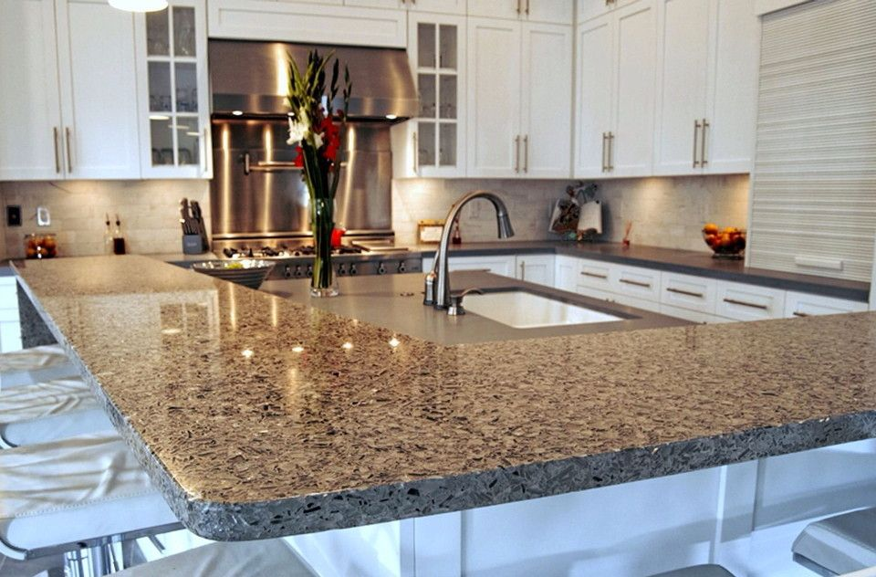 Vetrazzo for a Traditional Kitchen with a Recycled Glass Countertops and Vetrazzo Installed by Latera Architectural Surfaces / Dorado Stone