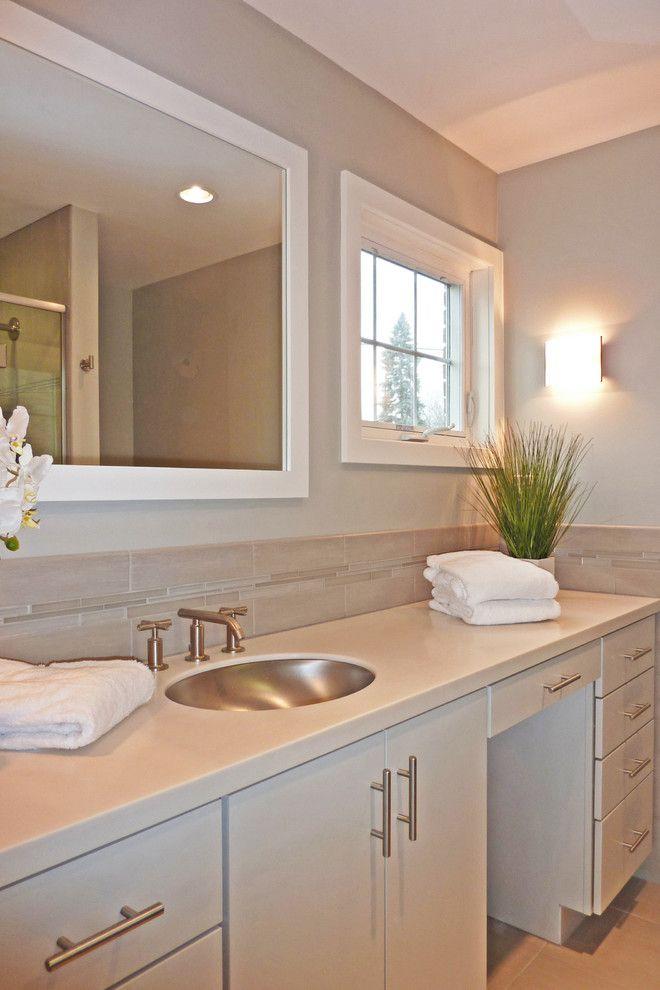 Viatera Quartz for a Contemporary Bathroom with a Master Bath and Albany Bathroom Designs by Hudson Valley Design
