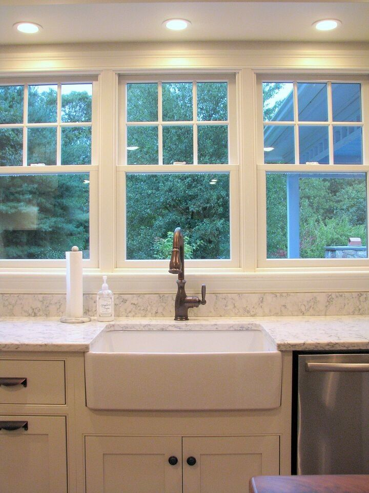 Viatera Quartz for a Craftsman Kitchen with a Farmhouse Kitchen and Farmers Sink with View by Cabinet Gallery Ltd