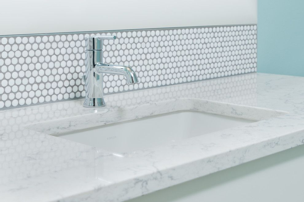 Viatera Quartz for a Transitional Bathroom with a White Bathroom and Happy Valley Bathroom Remodel by Adapt Design, Llc