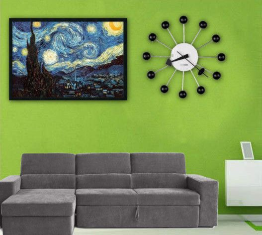 Vincent Van Gogh Cafe Terrace at Night for a Contemporary Spaces with a 14 Ball Wall Clock and Family Room Ideas by Clocks247