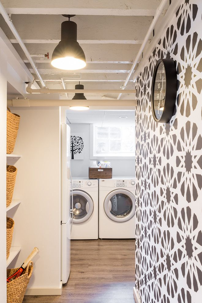 Vinyl vs Laminate for a Contemporary Laundry Room with a Contemporary and Basement Studio Laundry by Justine Sterling Design