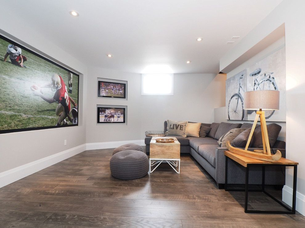 Vinyl vs Laminate for a Transitional Basement with a Gray Poufs and Theater Room by Tiffany Mackinnon