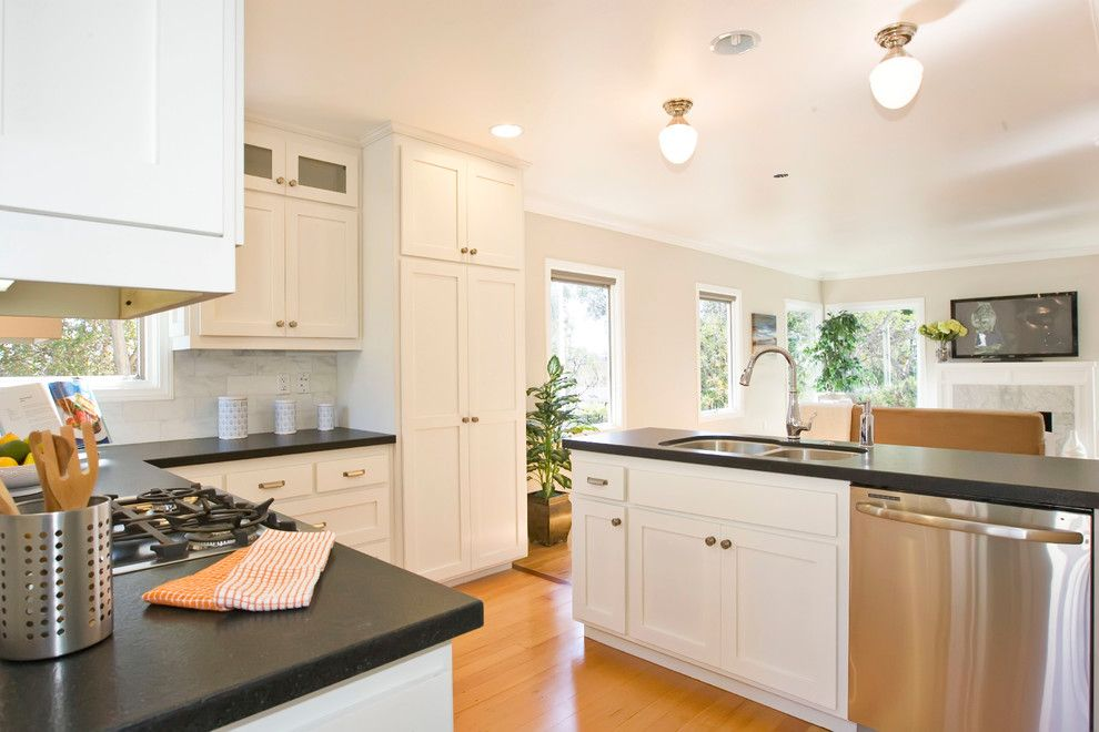 Virginia Mist Granite for a Traditional Kitchen with a Double Sink and North Park Bungalow by Stewart Thomas Design Build
