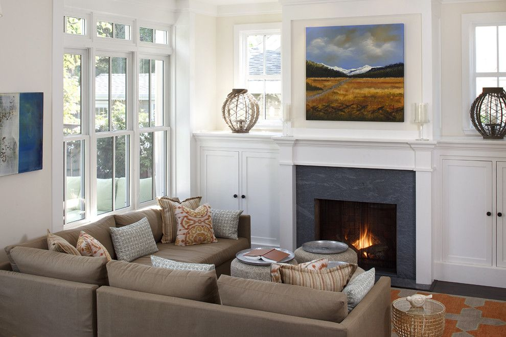Virginia Mist Granite for a Traditional Living Room with a Sectional Sofa and Mill Valley