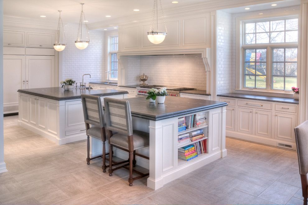 Virginia Mist Granite for a Transitional Kitchen with a White Kitchen Cabinet and Highland Park Kitchen Remodel by Lamantia Design & Construction