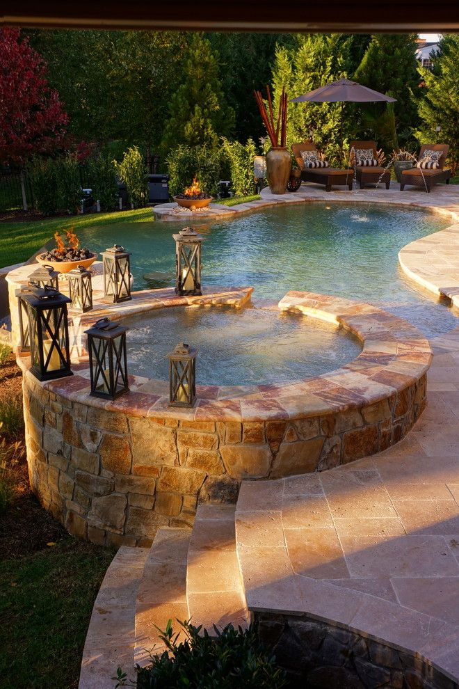 Virginia Wayside Furniture for a Contemporary Pool with a Stone Tub and Roan Chapel by Town & Country Pools, Inc.