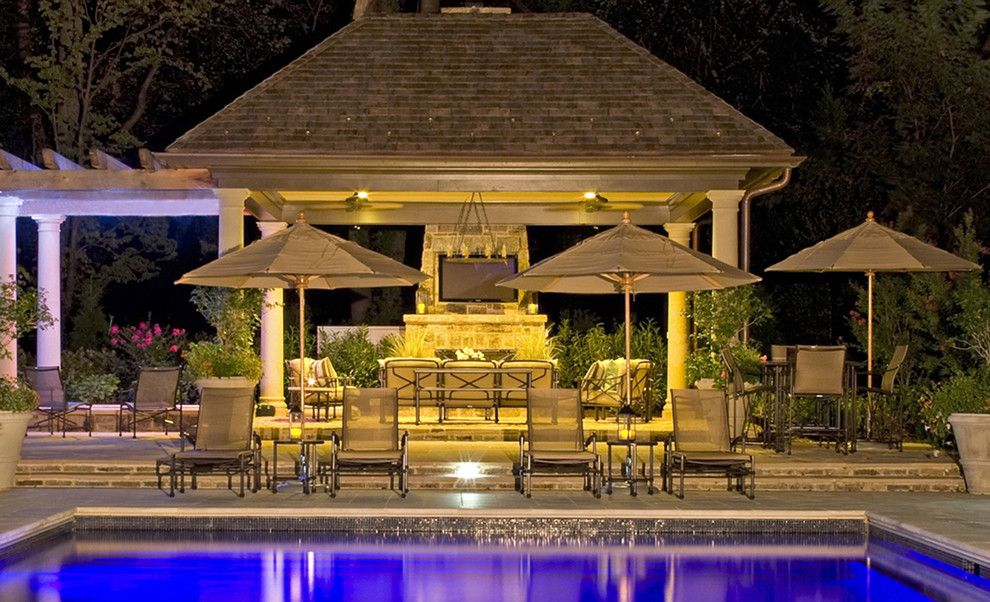 Virginia Wayside Furniture for a Contemporary Pool with a Swimming Pools and Pool at Night by Lewis  Aquatech