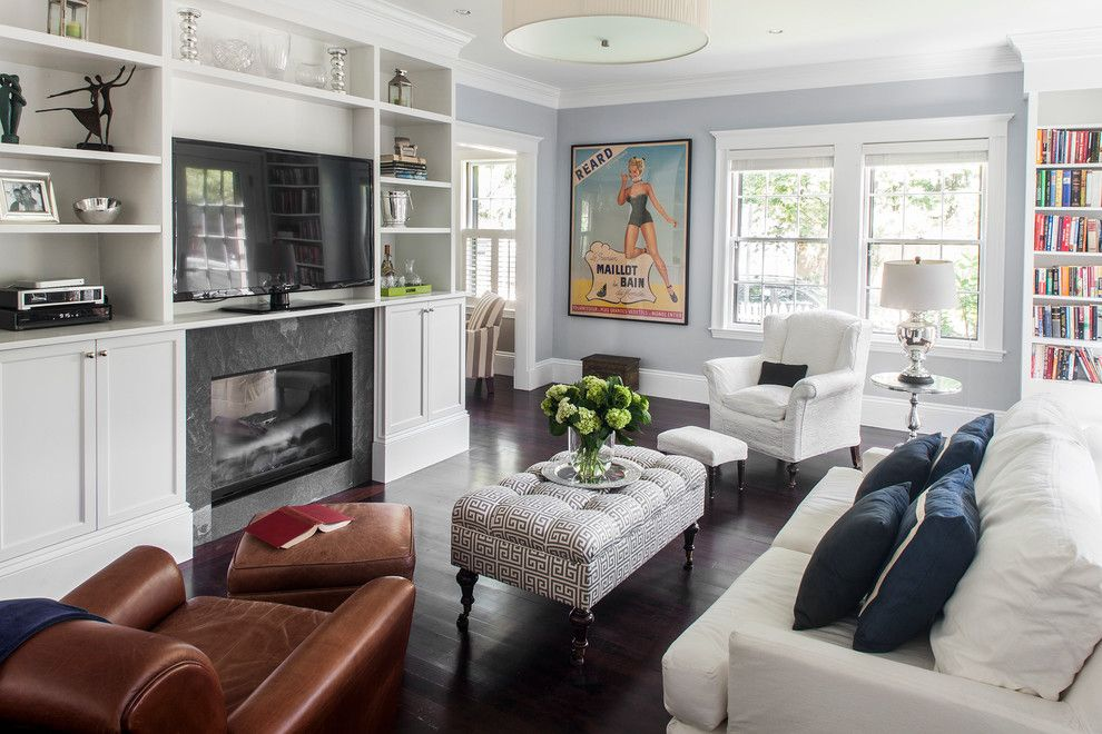 Virginia Wayside Furniture for a Traditional Living Room with a Brown Leather Armchair and West Cambridge Renovation by Lda Architecture & Interiors