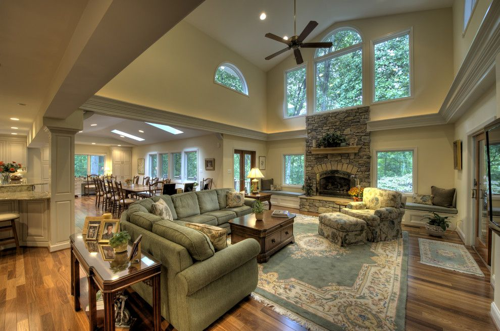 Virginia Wayside Furniture for a Traditional Living Room with a Window Seat and Additions by Moss Building and Design
