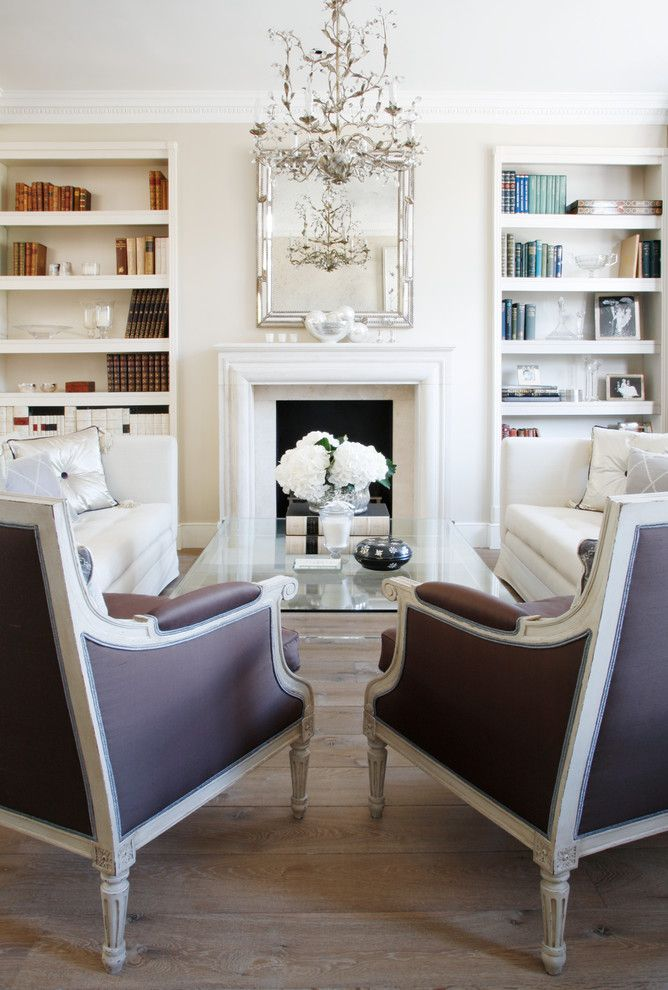 Virginia Wayside Furniture for a Victorian Living Room with a Bookcase and Kensington Town House by VSP Interiors