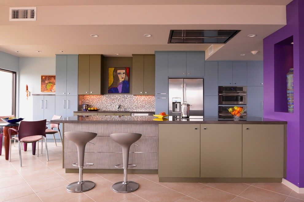 Vortex Doors for a Contemporary Kitchen with a Bar Counter and High Rise Condominium by Chandra Stone, Interior Design