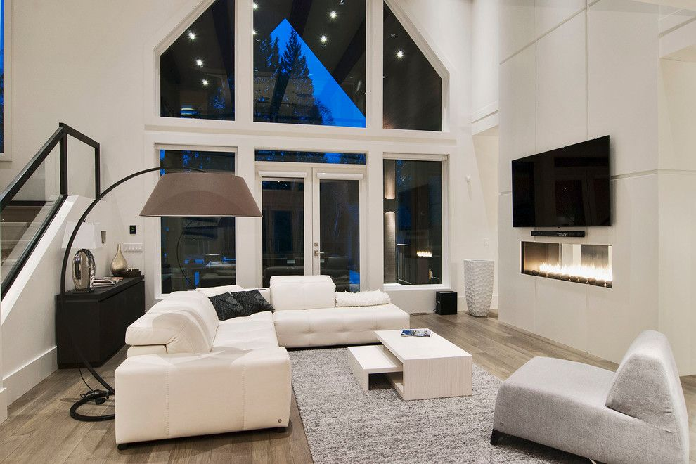 Vortex Doors for a Contemporary Living Room with a Glass Doors and Forest Hills Modern by Brett Mochinski Ltd.