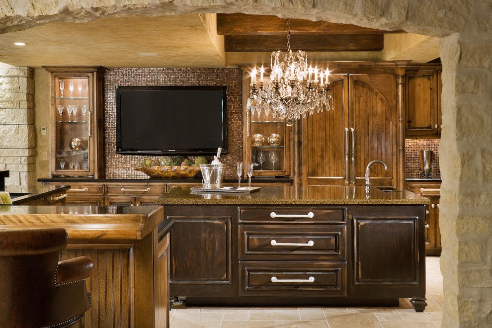 Vortex Doors for a Mediterranean Kitchen with a Beige Ceiling and Granite Kitchen Remodel by Granite Transformations Las Vegas