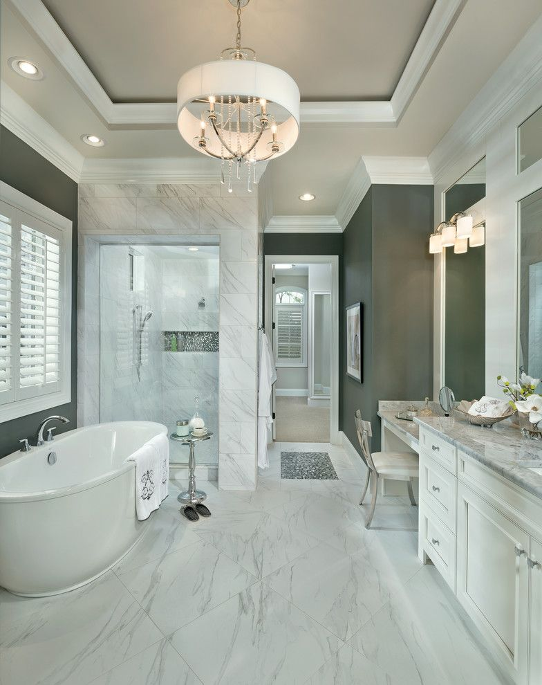 Wallington Plumbing Supply for a Transitional Bathroom with a Chandelier and Asheville by Arthur Rutenberg Homes   Cincinnati, Oh