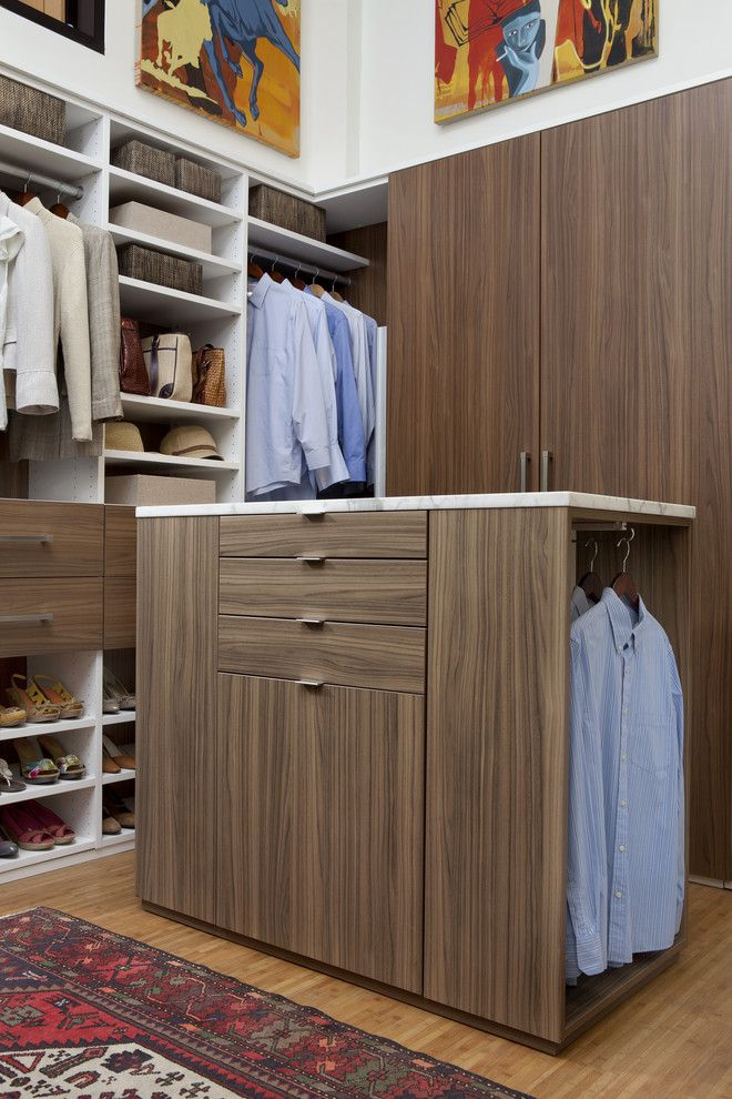 Walnut Creek Furniture for a Contemporary Closet with a Baskets and Walk in Closet in Walnut and White Melamine by Transform | the Art of Custom Storage