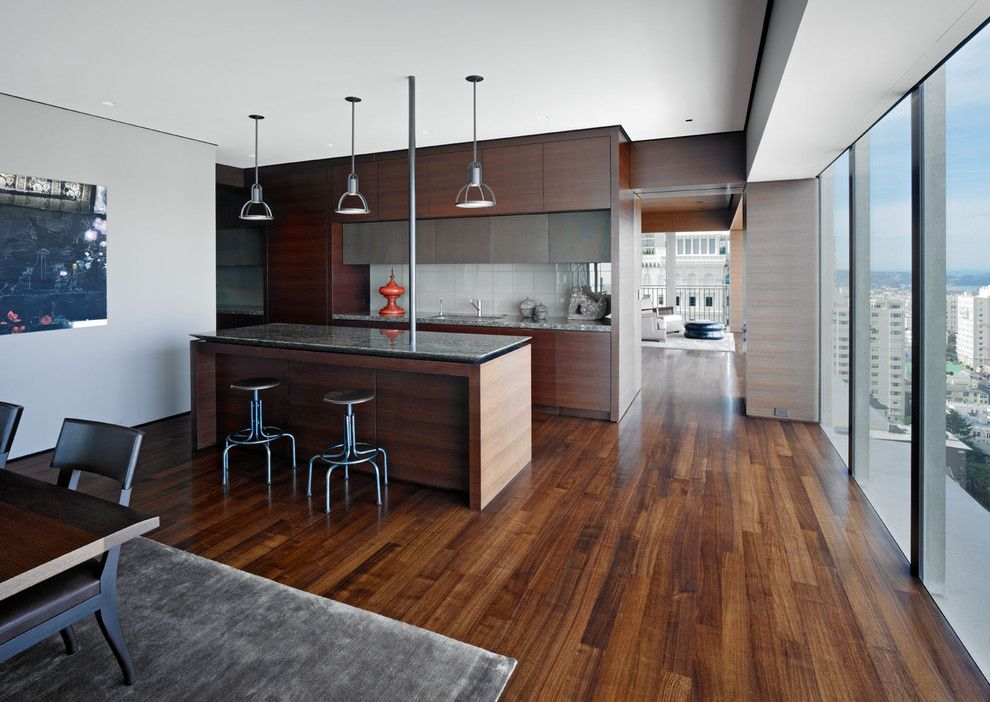 Walnut Creek Furniture for a Modern Kitchen with a Pendant Lights and Russian Hill by Zack|De Vito Architecture + Construction