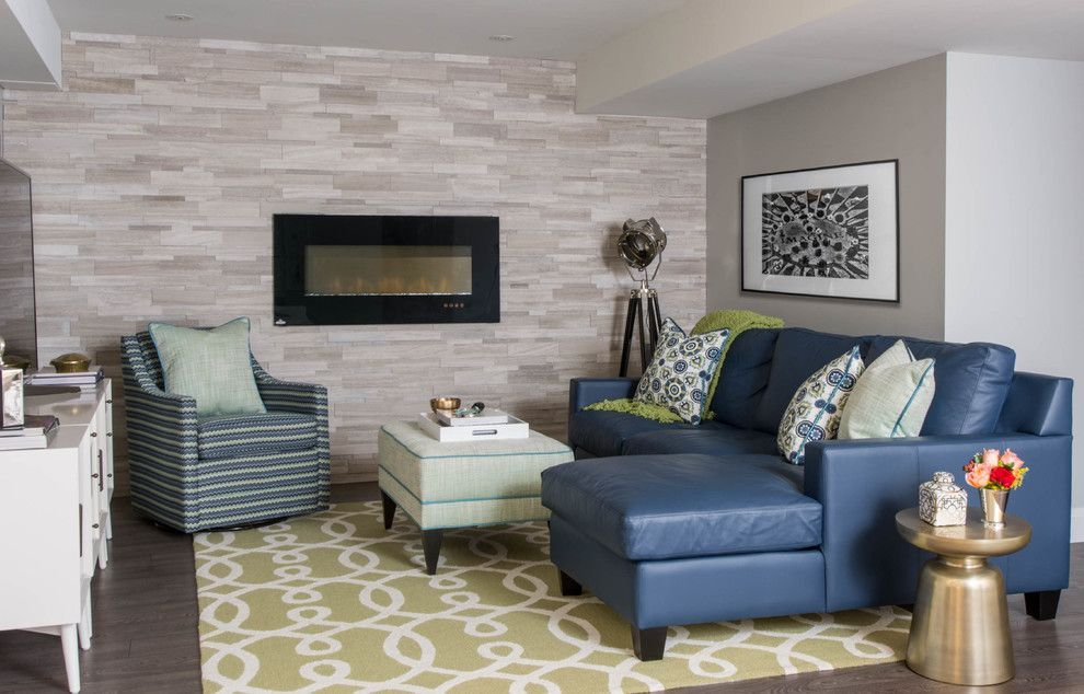 Walnut Creek Furniture for a Transitional Basement with a Gallery Wall and Joshua Creek Basement Renovation by Decor by Christine Interior Decorating & Design