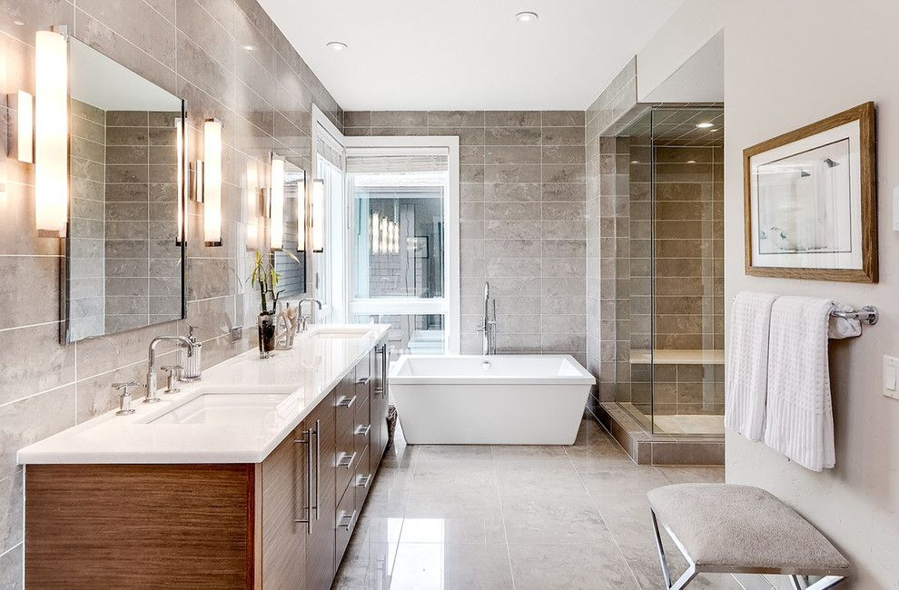 Walnut Creek Medical Group for a Contemporary Bathroom with a Upholstered Bench and Breckenridge Vacation Home  Master Bathroom by Markel Design Group