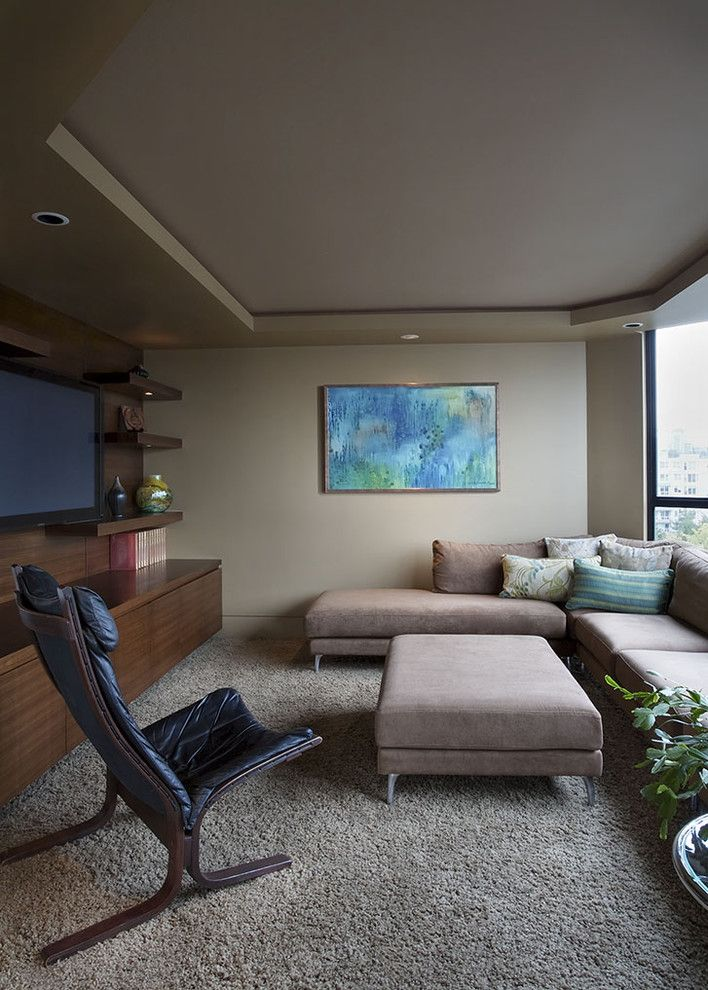Walnut Creek Theater for a Contemporary Home Theater with a Floating Shelves and False Creek Condo by Nigel Walker and Associates Inc