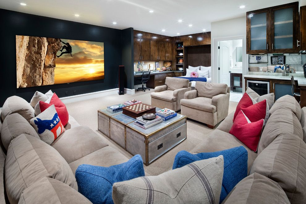 Walnut Creek Theater for a Mediterranean Home Theater with a Gray Sectional Sofa and Cord Shiflet Birnam Wood Estate by Cord Shiflet