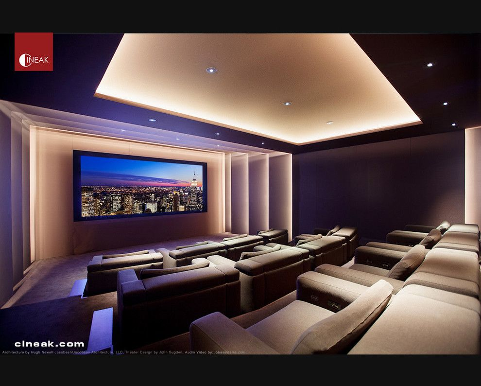 Walnut Creek Theater for a Modern Home Theater with a Leather and Exquisite New Media Room Featuring Cineak Strato Seats. by Cineak Luxury Seating