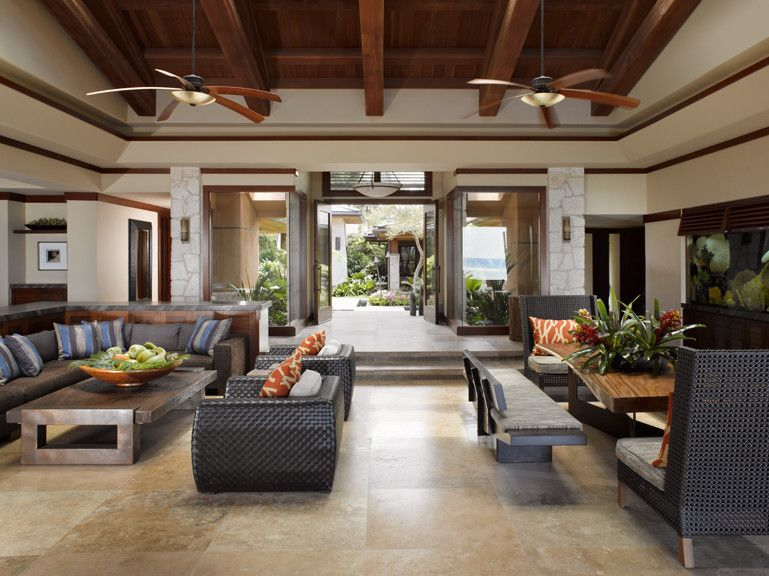 Walters Wicker for a Tropical Living Room with a Ca and Applegate Tran Interiors by Applegate Tran Interiors